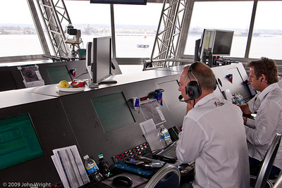 The top floor of the control tower houses race control.