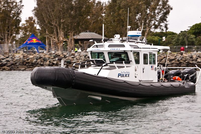 The San Diego Harbor Police were one of the agencies controlling traffic on San Diego Bay during the races.