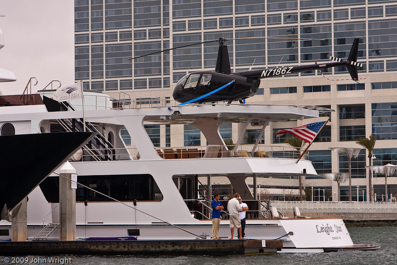 Robinson R-44 helicopter on a private yacht...