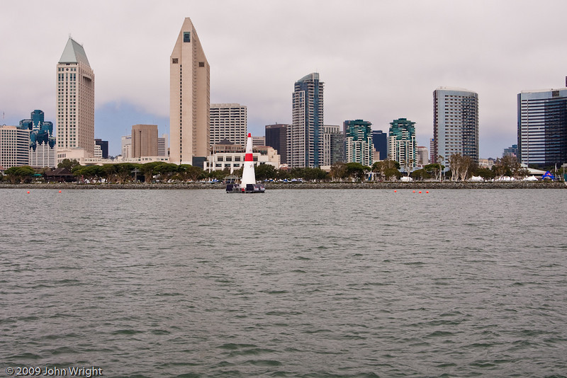 The San Diego skyline with one of the pylons.