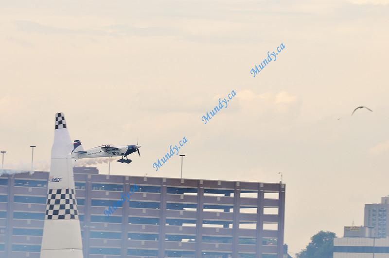 Martin clips the pylon...