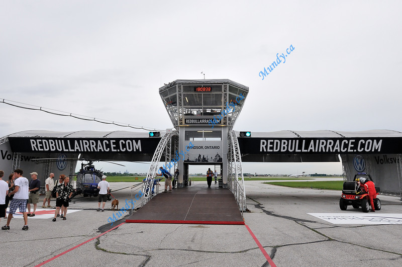 Air Race airport control tower located at the end of pit lane.  <br /> The aircraft pass through the gate here to leave for the race.