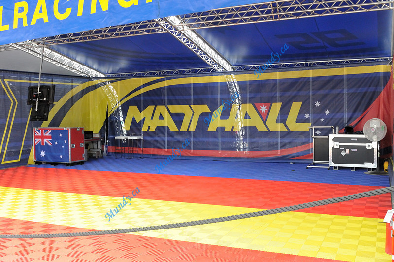 "Matt Hall's hangar ... he went home after hitting the water in Qualifying.  Also was disqualified for New York.  Perhaps he'll be called ""skip"" from now on?<br /> Sorry we didn't get the chance to meet you Matt."