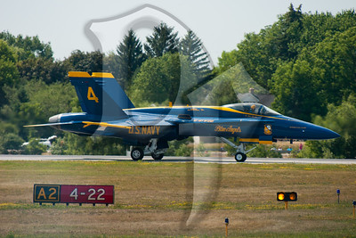 Blue Angel #4 readies for takeoff during the 2011 ESL International Airshow in Rochester, NY