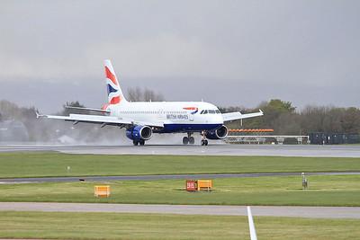 BA Airbus A320-232, G-EUUZ, landing on Runway 1 - 30/04/16.