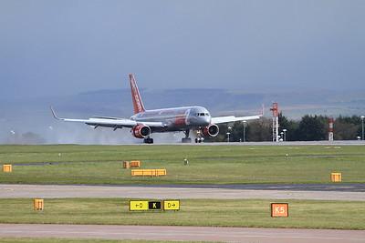 Jet2 Boeing 757-27B(WL), G-LSAB, landing on Runway 1 - 30/04/16.