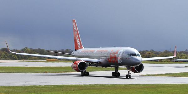 Jet2 Boeing 757-27B(WL), G-LSAB, just landed on Runway 1 - 30/04/16.