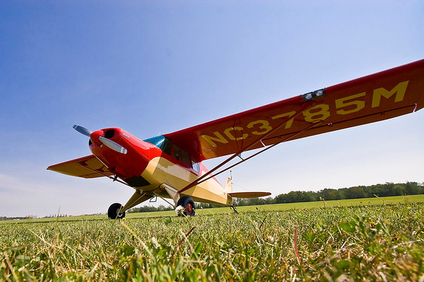 "Another beautifully maintained civil aircraft--a 1947 Piper PA-12 Cub ""Super Cruiser."""