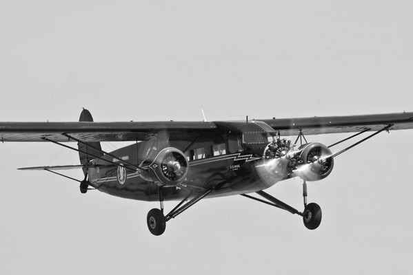 The beautiful Stinson Tri-Motor, rendered in black-and-white.