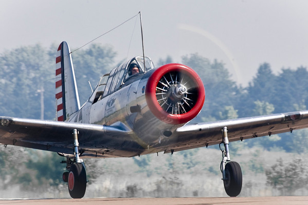 The Vultee BT-13 Valiant on take off roll.