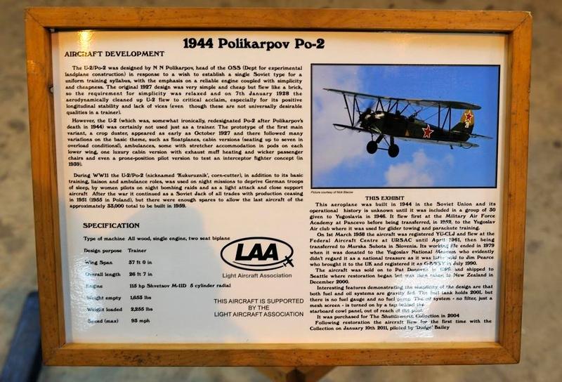 Polikarpov Po-2 White 28, Shuttleworth Collection, Old Warden, Bedfordshire, 30 December 2012 1.  Built in the USSR in 1944, in use in Yugoslavia 1946 - 1979.