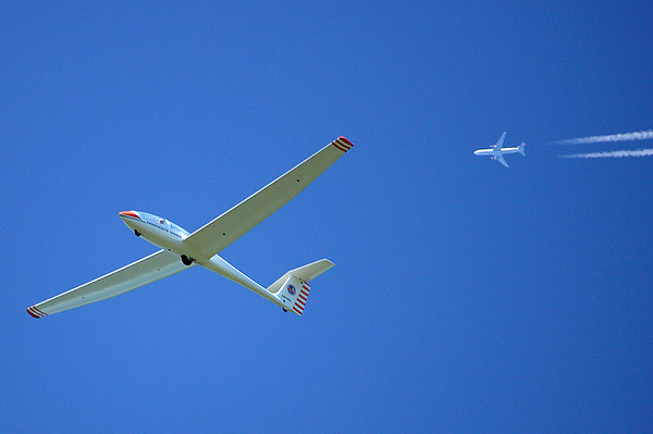 Glider with Boeing 777 overhead; Van Sant Airport, PA