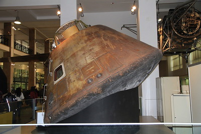 Apollo 10 Command module - in this tiny capsule, astronauts Tom Stafford, John Young & Gene Cernan travelled round the moon in May 1969 in a dress rehearsal for the Apollo 11 moon landing in July - 09/01/16.