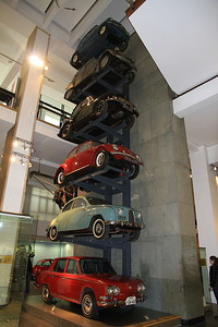A stack of family cars from the 50's & 60's comprising Fiat 600 (1956), Citroen 2CV (1952),  Morris Minor (1950), Volkswagen 1300 (1965), Saab 93 (1956) and Hino Contessa 1300 Sedan (1965) - 09/01/16.