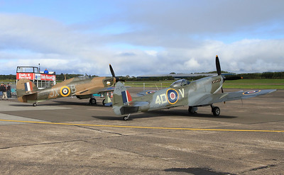 BBMF Hawker Hurricane Mk.11C LF363 / JX-B & Supermarine Spitfire LF Mk.XVIe TE311 / 4D-V on static display - 06/09/15.
