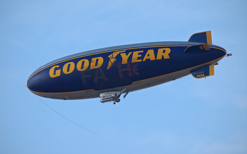 Goodyear Blimp N10A passing overhead - 12 Oct 2012