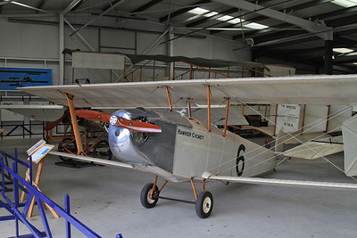 Hawker Cygnet replica, G-CAMM, on display inside one of the hangers at Old Warden - 05/07/15.