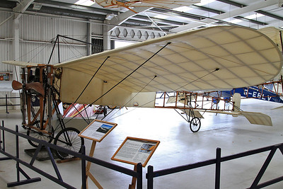 1909-built Blériot Type X1, G-AANG, on display inside one of the hangers at Old Warden - said to be the world's oldest flying aircraft and aero engine - 05/07/15.