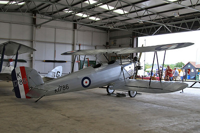 Hawker Tomtit, K1786 / G-AFTA, on display inside one of the hangers at Old Warden - 05/07/15.