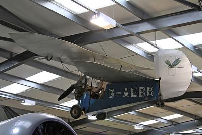 Mignet HM.14 Pou-du-Ciel, G-AEBB, (aka 'The Flying Flea') on display inside one of the hangers at Old Warden - 05/07/15.