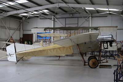 1912-built Blackburn Monoplane, G-AANI, on display inside one of the hangers at Old Warden - this is the oldest airworthy British-built aircraft in the world - 05/07/15.