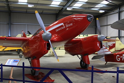 De Havilland DH88 Comet racer, G-ACSS, on display inside one of the hangers at Old Warden - 05/07/15.