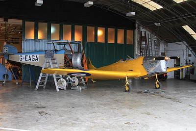 Miles M.14A Hawk Trainer 3, N3788 / G-AKPF & Sopwith Dove replica, G-EAGA, on display inside one of the hangers at Old Warden - 05/07/15.