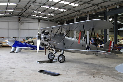 Hawker Tomtit K1786 / G-AFTA & Chilton DW1A racer, G-CDXU, on display inside one of the hangers at Old Warden - 05/07/15.