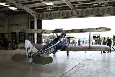 De Havilland DH-60 Moth, G-EBLV, on display inside one of the hangers at Old Warden - 05/07/15.