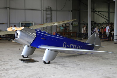 Chilton DW1A racer, G-CDXU, on display inside one of the hangers at Old Warden - 05/07/15.