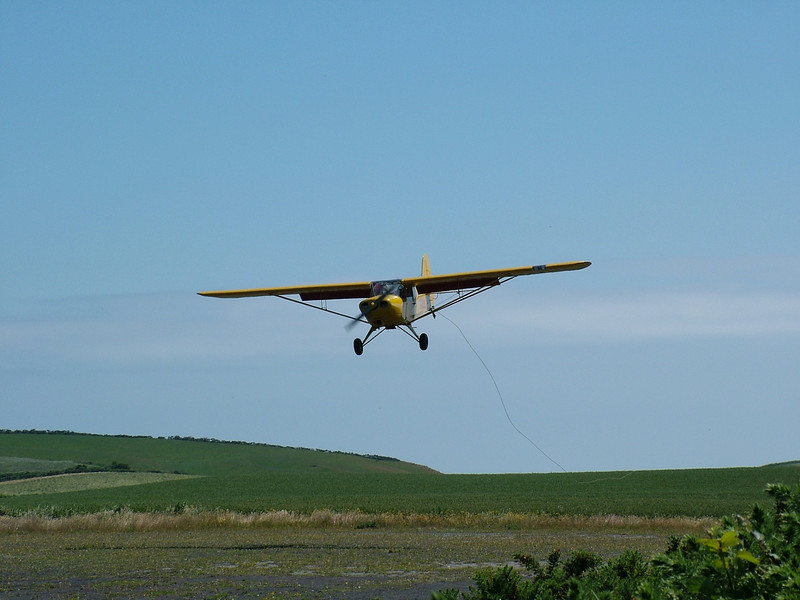 The Auster returns to runway 29