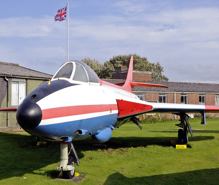 Hawker Hunter F51, Solway Aviation Museum, Carlisle airport, Sat 15 September 2012.  Built in 1956 for the Danish Air Force (E-425).  Seen wearing Empire Test Pilors School colours.