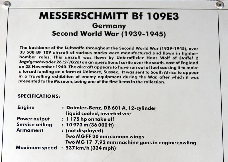 Messerschmitt Bf-109E-3 Red 2, South African National Museum of Military History, Johannesburg, 20 September 2018 3.