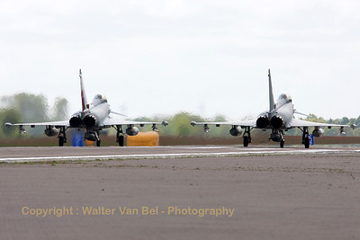 Two German Air Force EF2000's (30+76; cnGS057 & 31+00; cnGS077), lined up on the active runway at Wittmund at the start of another QRA-mission.