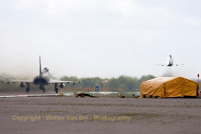 The start of another QRA-mission at Wittmund (RWY26): with two German Air Force EF2000's (30+76; cnGS057 & 31+00; cnGS077).