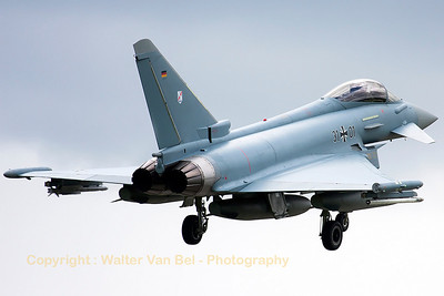 """German Air Force EF2000 (31+01; cnGS078) from TLG31, on final for RWY26 at the end of another mission during exercise """"JAWTEX""""."""
