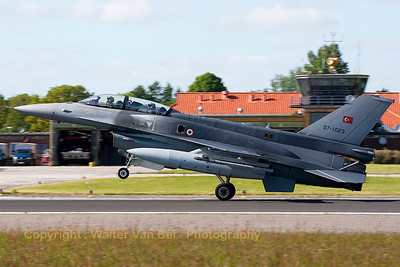 Turkish Air Force F-16DJ Fighting Falcon (07-1023; cnNW-9) is seen landing on Wittmund's RWY26, using aerodynamic braking, at the end of another JAWTEX-mission.