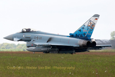 "German Air Force EF2000 (31+00; cnGS077), with the special c/s to celebrate 55 years of JaboG31 (Fighter Bomber Wing 31) ""Boelcke"", ready to launch for another QRA-mission."