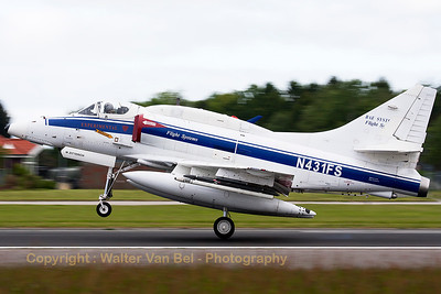 This A-4N Skyhawk (N431FS; cn14504) from BAE Systems Flight Systems is seen here on take-off from Wittmund's RWY26 in support of another mission during the JAWTEX exercise.