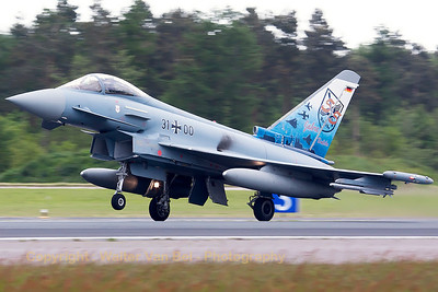 "German Air Force EF2000 (31+00; cnGS077), with the special c/s to celebrate 55 years of JaboG31 (Fighter Bomber Wing 31) ""Boelcke"", launching from Wittmund's RWY26 for another QRA-mission."