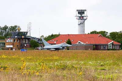 German Air Force EF2000 (30+76; cnGS057), taxies past the Wittmund towers at the end of another QRA-mission.