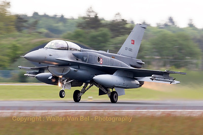 "Turkish Air Force F-16DJ Fighting Falcon (07-1023; cnNW-9), spitting fire and producing ""jelly"", on take-off during another JAWTEX-mission."