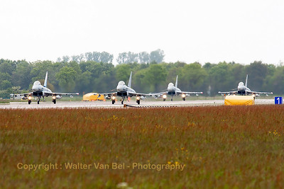 """German Air Force EF2000 (31+00; cnGS077), with the special c/s to celebrate 55 years of JaboG31 (Fighter Bomber Wing 31) """"Boelcke"""", leads a four-ship, ready for take-off."""