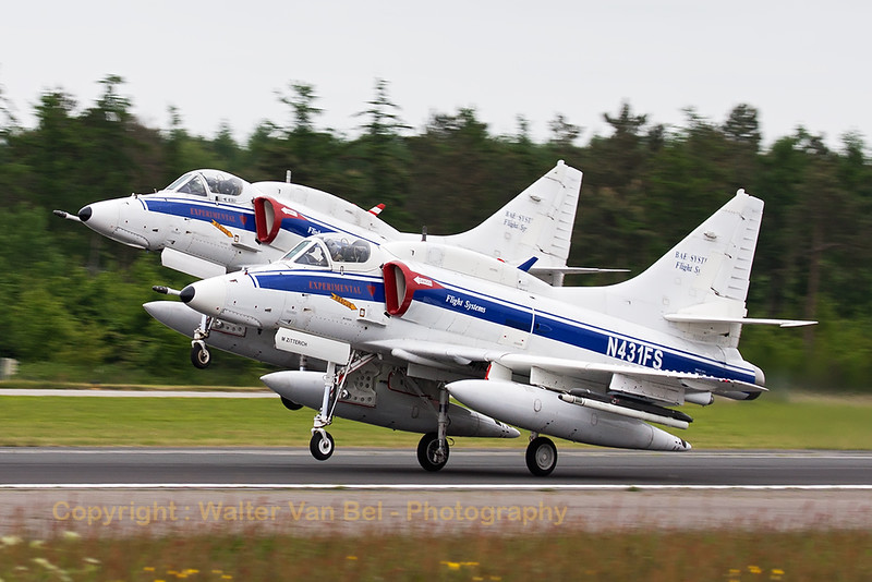 Two A-4N Skyhawk's (N431FS; cn14504 & N434FS; cn14514) from BAE Systems Flight Systems, performing a dual take-off from Wittmund's RWY26 in support of another mission during the JAWTEX exercise.