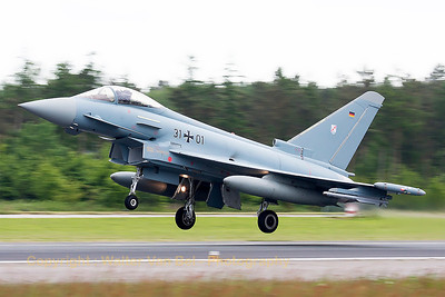 "German Air Force EF2000 (31+01; cnGS078) from TLG31, on take-off at the start of another mission during exercise ""JAWTEX""."