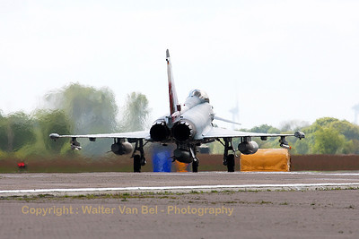 "German Air Force EF2000 (31+00; cnGS077), with the special c/s to celebrate 55 years of JaboG31 (Fighter Bomber Wing 31) ""Boelcke"", lining up on the active runway at Wittmund at the start of another QRA-mission."