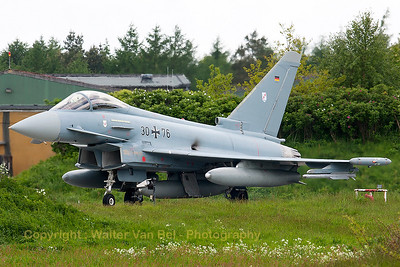 "German Air Force EF2000 (30+76; cnGS057), at the ""last chance"" area, ready to launch for another QRA-mission."