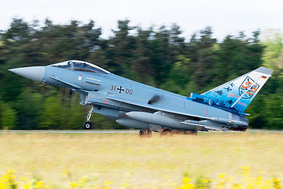 "German Air Force EF2000 (31+00; cnGS077), with the special c/s to celebrate 55 years of JaboG31 (Fighter Bomber Wing 31) ""Boelcke"", landing on Wittmund's RWY26 after another QRA-mission."