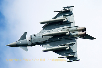 German Air Force EF2000 (30+76; cnGS057), banks very hard turning downwind at the end of another QRA-mission.