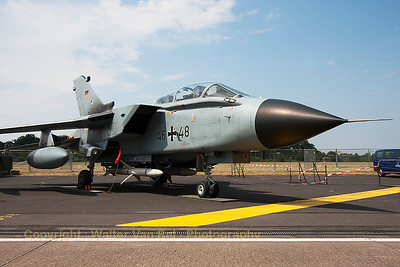 "This German Air Force Tornado ECR (46+48; cn881/GS281/4348) from TLG51, was parked in the static at Nörvenich Air Base, during the spottersday, prior to the ""Tag der Bundeswehr""."